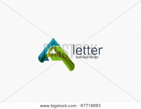 Modern A letter company logo, clean design. Abstract shape made of color overlapping wave pieces