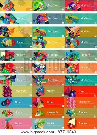 Headers, flat design option infographic banners, vector set