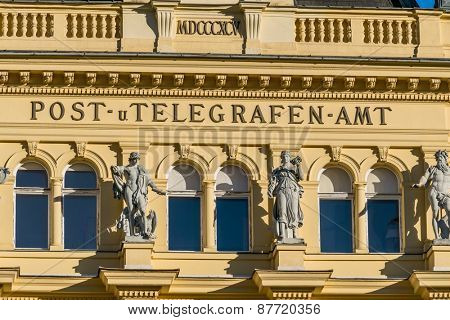 austria, bad ischl, post office. the post and telegraph office