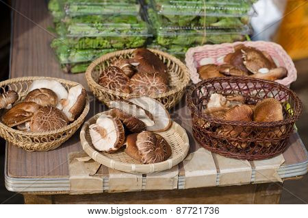 Shiitake Mushrooms In Local Market, Japan
