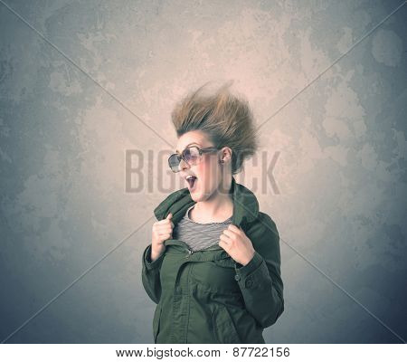 Extreme hair style young woman portrait on vintage background