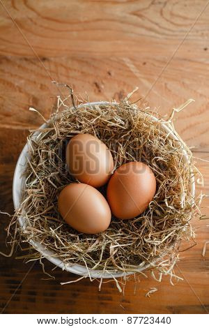 Brown eggs in straw nest