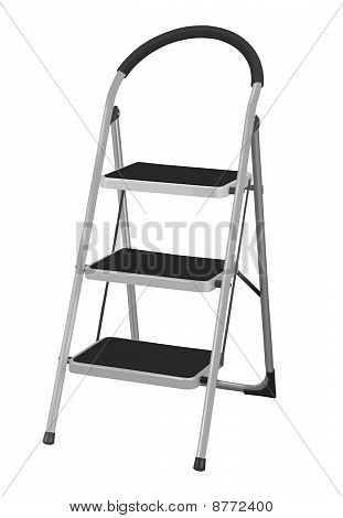 Aluminum Step Ladder Isolated On White Background