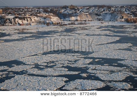 Saint Lawrence River frozen in  the city of Quebec