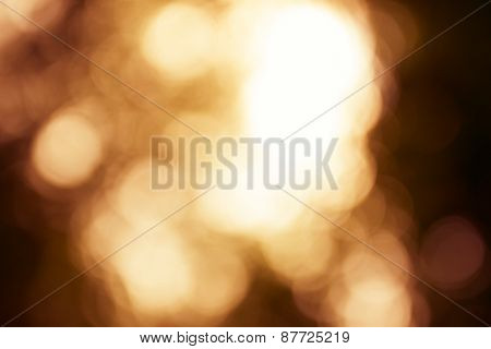 Natural Outdoors Bokeh Light Background, Yellow Tone In Hilight And Orange Tone In Shadow