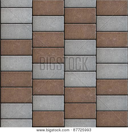 Gray and Brown  Paving Consisting of  Rectangles Laid Out in a Chaotic Manner.