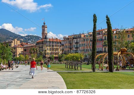 NICE, FRANCE - AUGUST 23, 2014: People at Promenade du Paillon - 12 hectares, 1.2km long new green pedestrian walkway area in the heart of Nice opened on October 26, 2013.