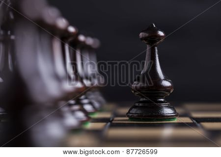Chess Pieces On A Chessboard.