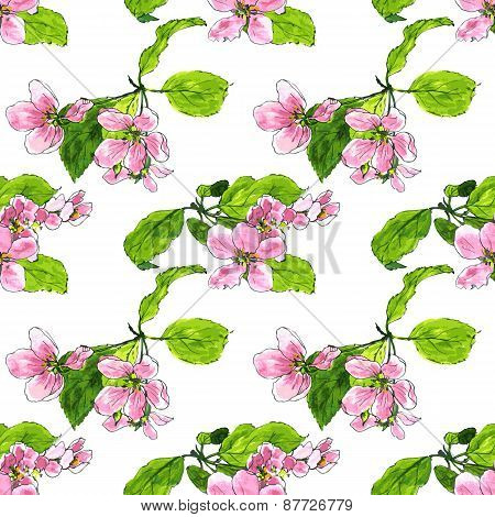 seamless pattern with apple blossoms