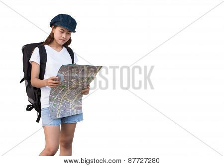 Young Women Carry Bag And Looking Map For Travel
