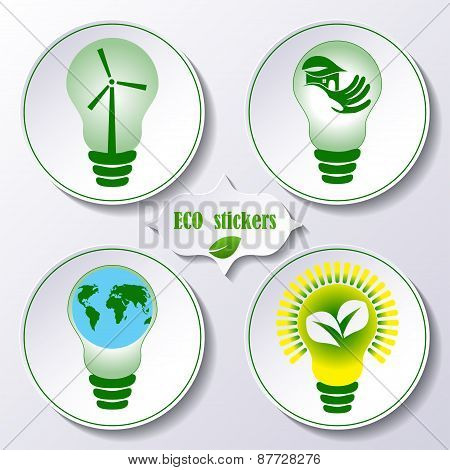 Set of stickers ecology concept