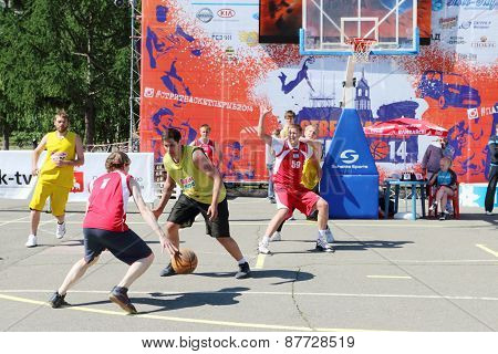 Perm, Russia - Jun 6, 2013: Competition Streetbasket In Perm. Basketball Feast Arranged Ministry Of