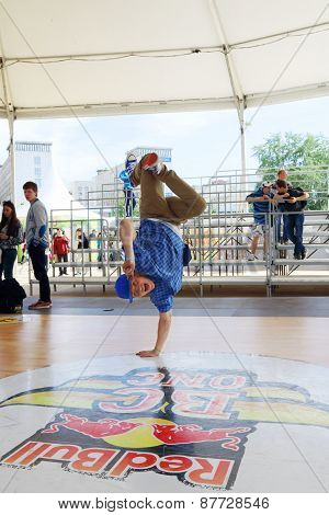 Perm, Russia - Jun 6, 2014: Breakdancer On White Nights Festival. Open Air Festival White Nights Is