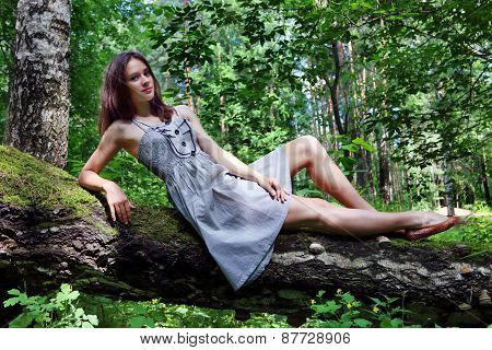 Beautiful Girl In Dress With Long Hair Lying On Fallen Tree In Forest