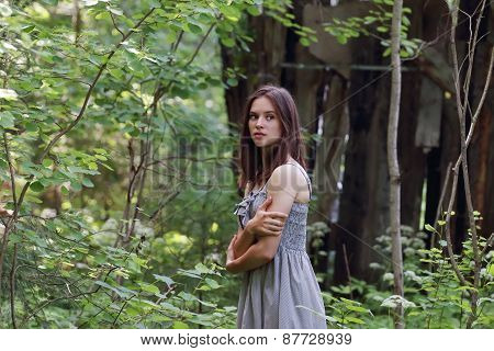 Beautiful Girl In Dress Stands And Looks Aside Hugging Himself