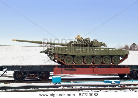 Perm, Russia - Dec 4, 2013: T-72B3 On Train Platform At Winter. T-72B3 - Russian Main Battle Tank T-
