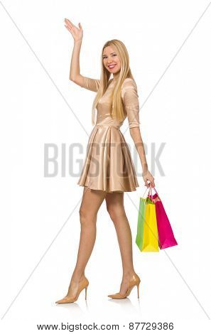 Woman many shopping bags after shopping isolated on white