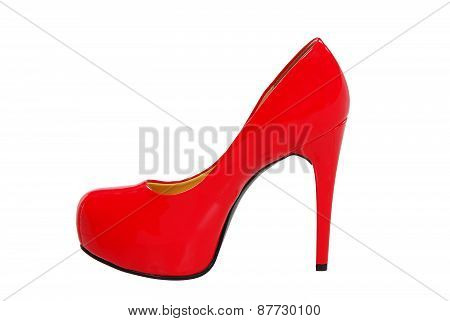 Red High Heeled Woman Shoe Isolated On White