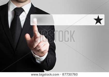 Businessman Pushing Button Text Field Black Star