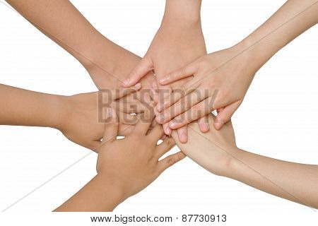 Business Team Showing Unity With Their Hands