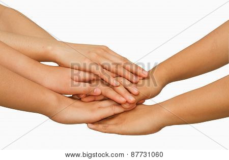 Hands On Top Of Each Other Showing  Unity With Their Hands Together