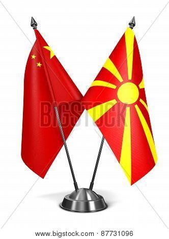 China and Macedonia - Miniature Flags.