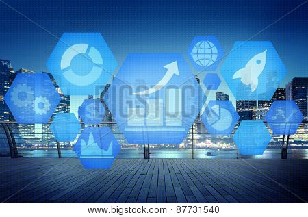 Statistics Disgram Global Connection FInancial Concept