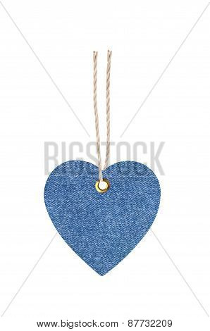 Jeans Tag Label Shape Heart Isolated On White Background
