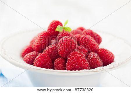 Bowl Of Juicy Raspberries