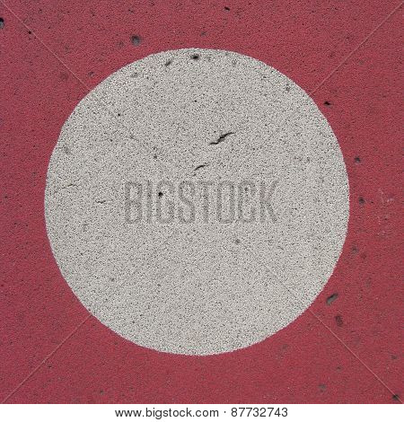 White Circle On Red Grunge Backdrop