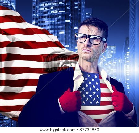 Businessman Superhero Aspirations American Flag Concept