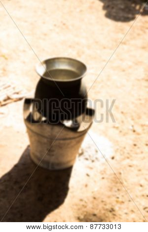 Blurry Defocused Traditional Pot On Charcoal Stove For Background