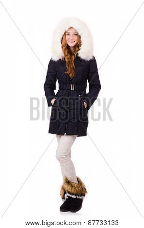Woman in winter clothing isolated on white