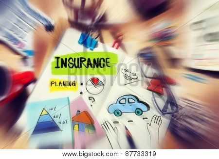 Note Pad and Insurance Planning Management Concept