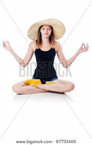 A sitting girl isolated on white