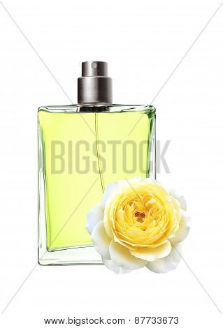 Woman Perfume In Beautiful Bottle And Yellow Rose Flower Isolated
