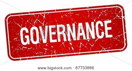 Governance Red Square Grunge Textured Isolated Stamp