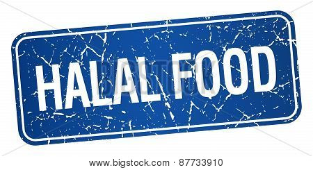 Halal Food Blue Square Grunge Textured Isolated Stamp