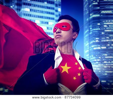 Superhero Businessman Chinese Cityscape Concept