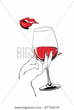 Playful Red Lips And Glass Of Wine Holding Hand