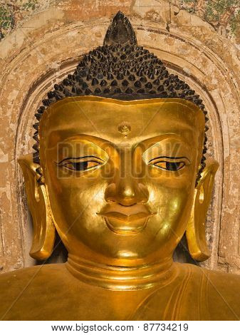 Smile Face Of Buddha Image Inside Htilominlo Pagoda
