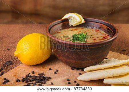 Delicious soup. Beautiful bowl of soup