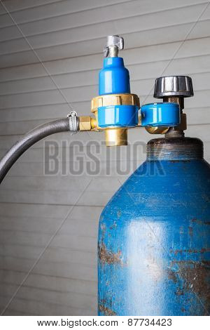 blue gas cylinder close up