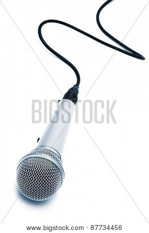 microphone with a cable on a white background