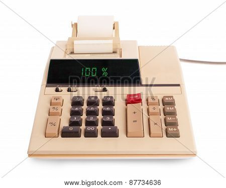 Old Calculator Showing A Percentage - 100 Percent