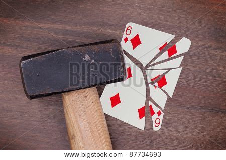 Hammer With A Broken Card, Six Of Diamonds