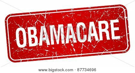 Obamacare Red Square Grunge Textured Isolated Stamp