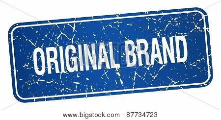 Original Brand Blue Square Grunge Textured Isolated Stamp