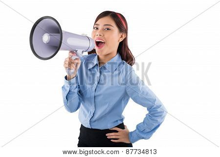 Business lady with megaphone