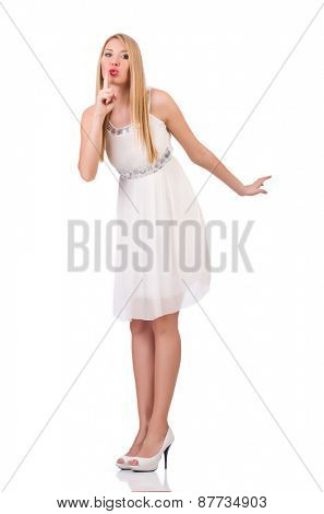 Beautiful woman in white dress isolated on white